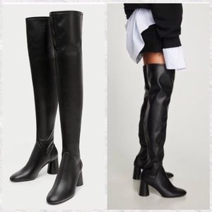 c379a7f4087 Zara Over The Knee Faux Leather Block Heels Boots NWT